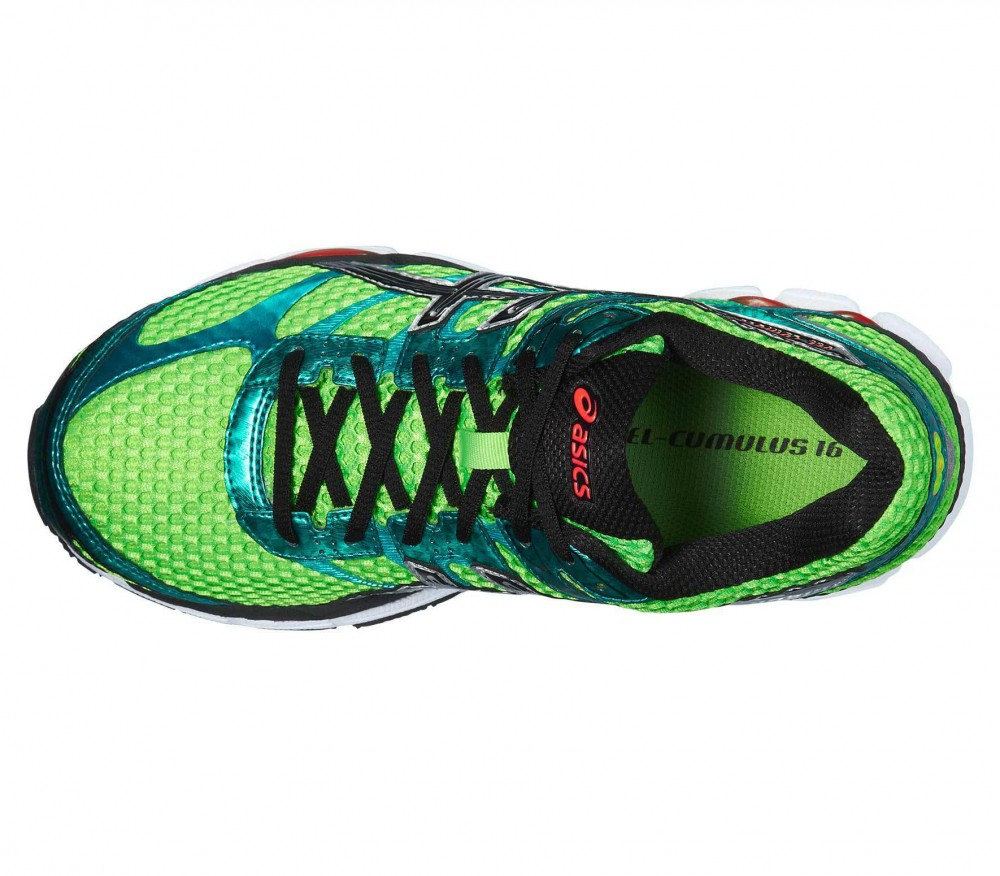 asics gel cumulus 16 chaussures de running pour hommes vert noir acheter en ligne keller. Black Bedroom Furniture Sets. Home Design Ideas