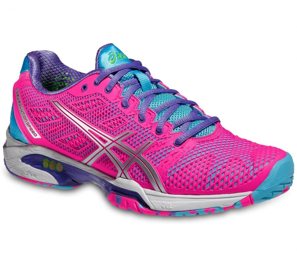 chaussures femmes asics gel solution speed roses