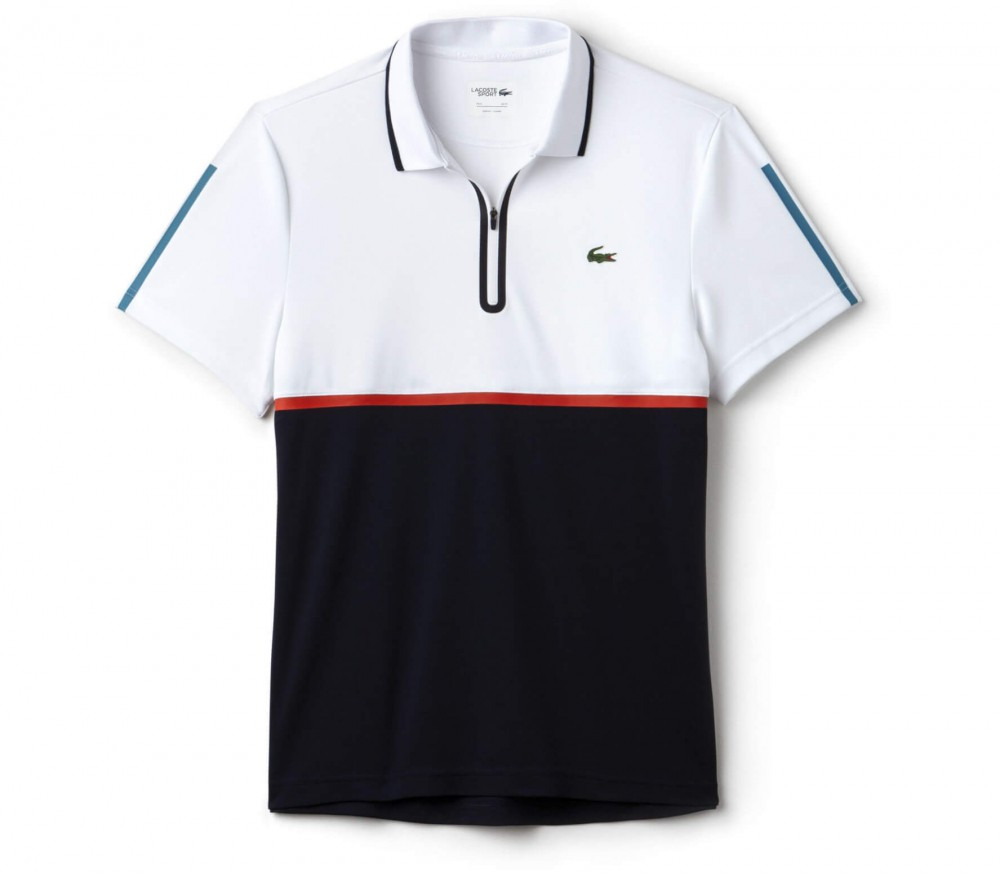 Lacoste - Court Sleeved Ribbed Collar Hommes Tennis Polo (bleu / jaune) - S bs0kARerXP